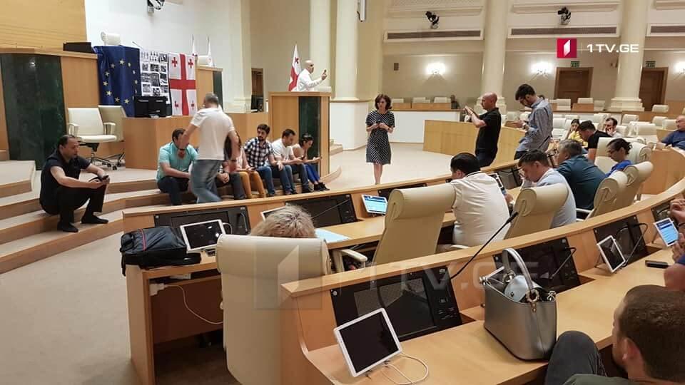 نواب البرلمان الجورجي يحتجون